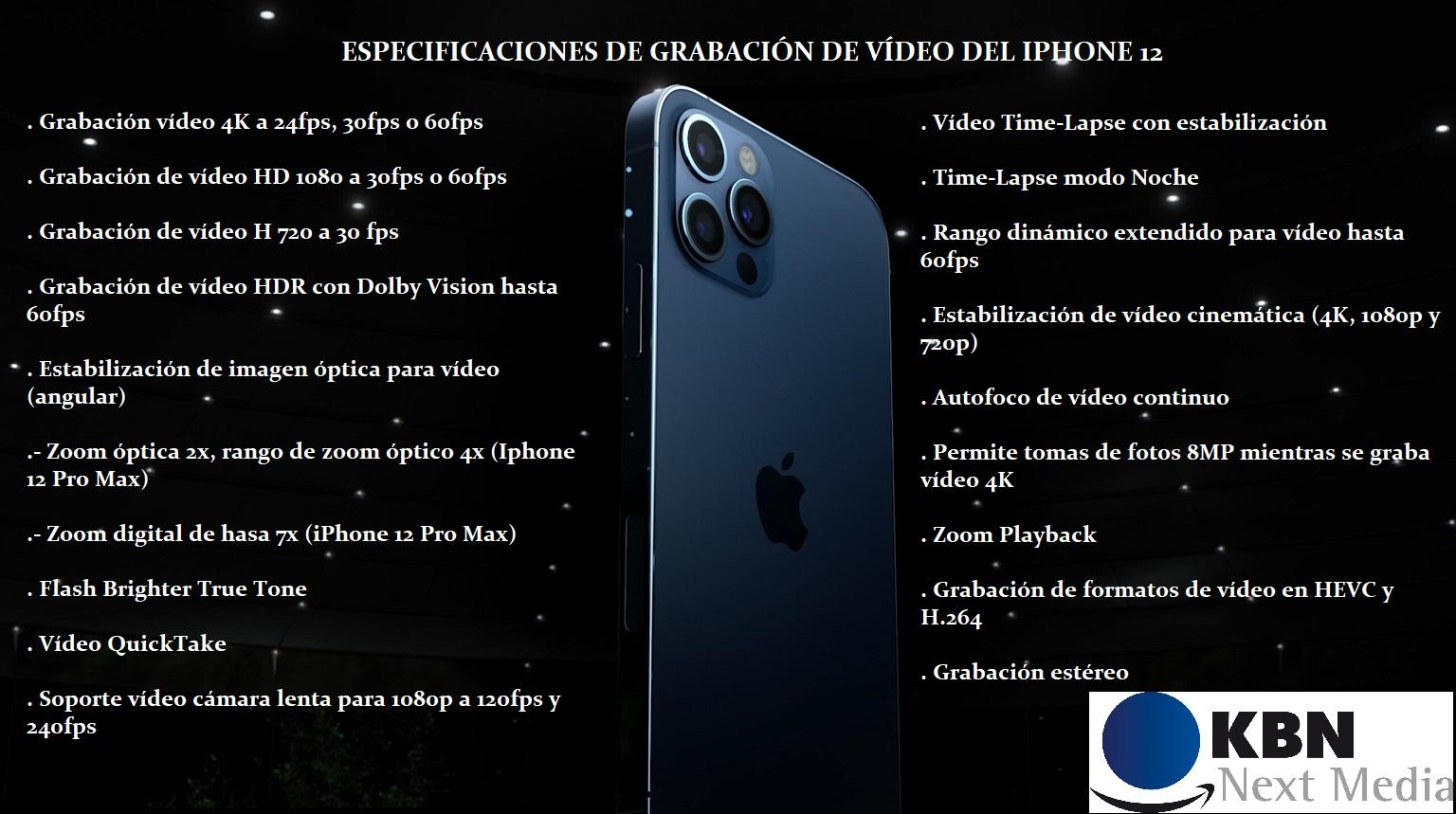 ESPECIFICACIONES VIDEO IPHONE 12